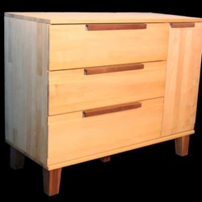 extrabreite Erlenholz-Kommode BeneVita mit 3 Schubladen und 3 Regalfächern und Tür
