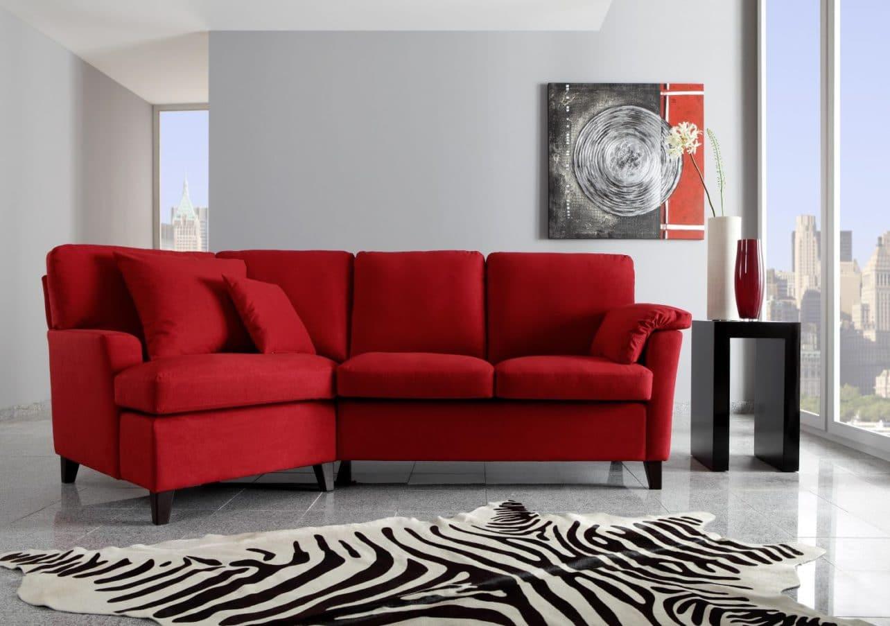 Übereck-Sofa Milano in Rot