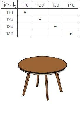 Tisch Flaye mit runder Tischplatte, Größen- und Typenübersicht